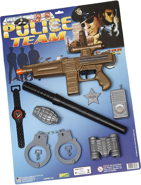 KIT POLICE TEAM 8PC NA CARTELA 35X50CM - REF.434