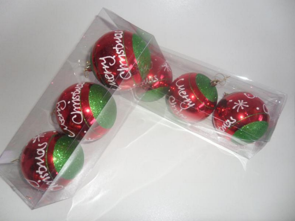 BOLA NATAL C/3 PC 10CM DECORADA - GL617