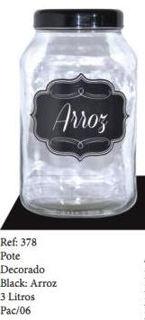 POTE VIDRO DECORADO BLACK ARROZ 3LTS - REF.378
