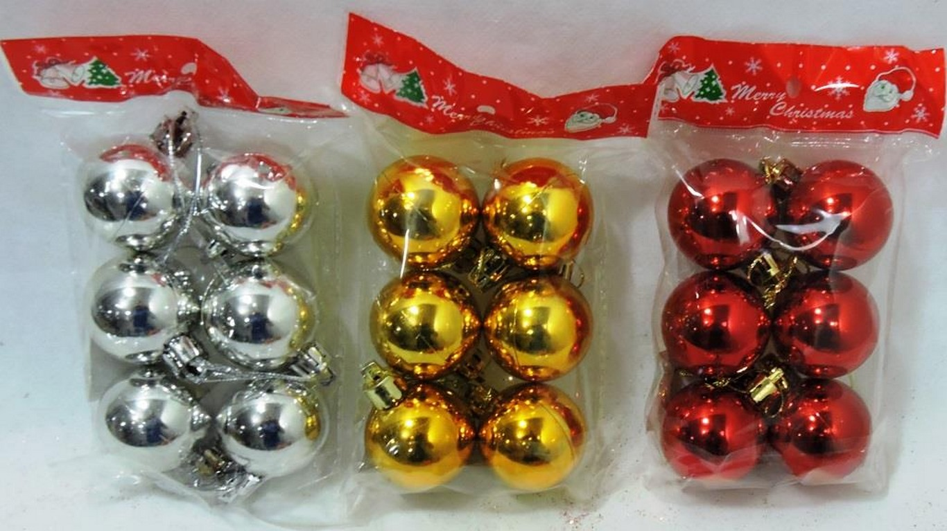 BOLA NATAL C/6 PC 6CM COLOR LISA (VERM/DOUR/PRATA)- GL619