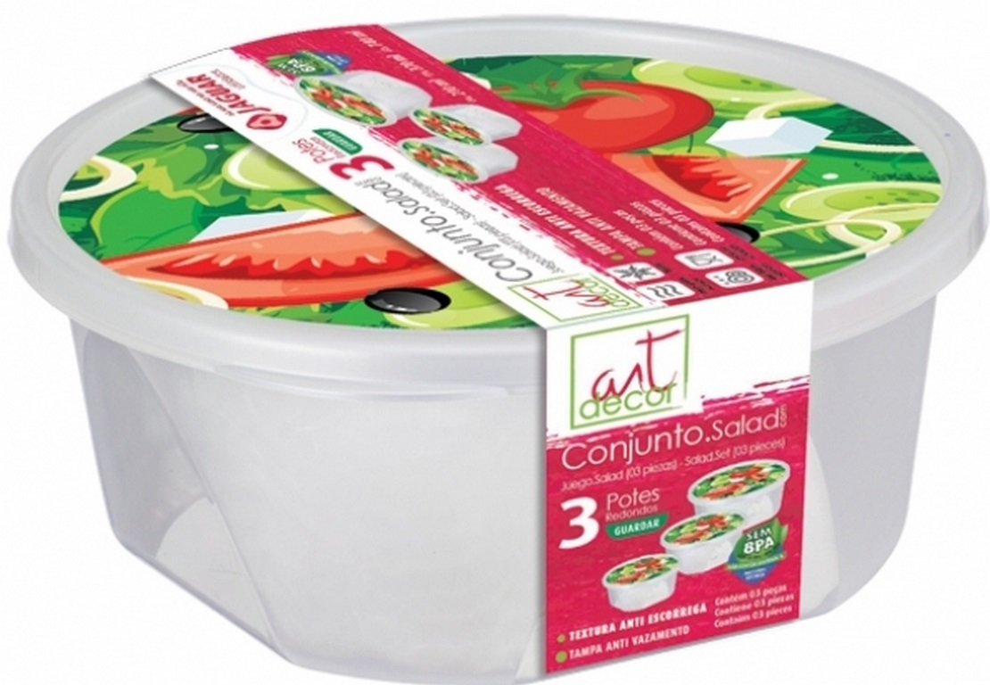 POTE PLAST. CONJ. SALAD RED 3PÇS (210/370/750ML) - REF 4053