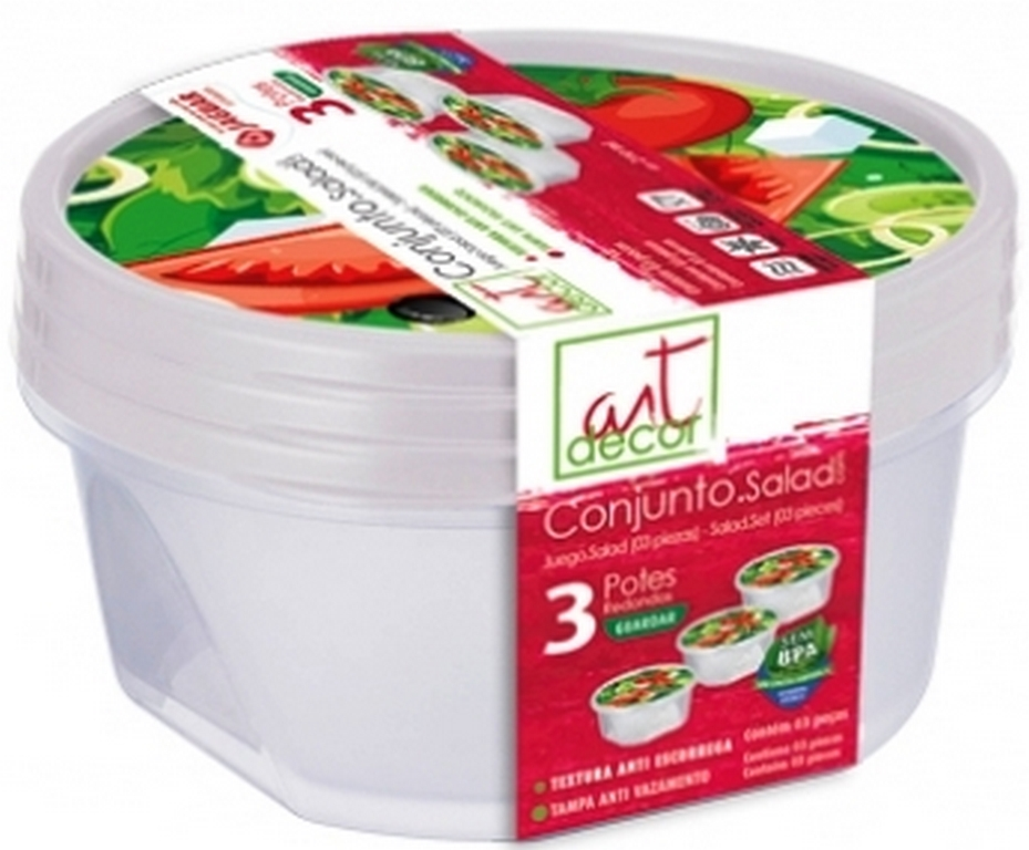 POTE PLAST. CONJ. SALAD RED 3PÇS (210ML) - REF.4050