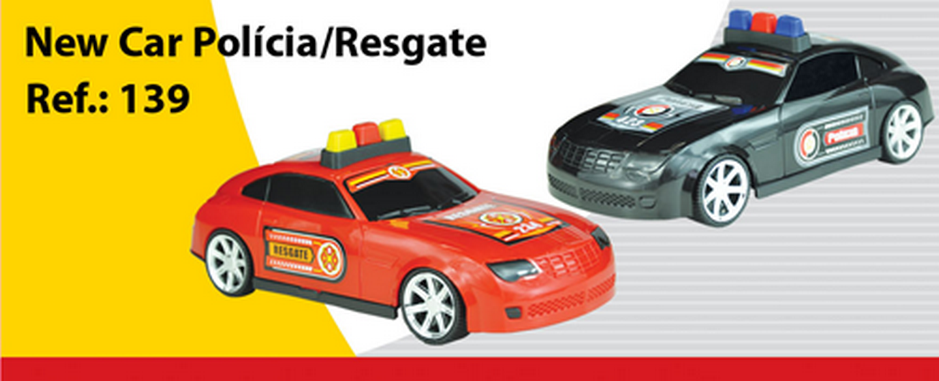 CARRO PLAST.NEW CAR POLICIA/RESGATE 17CM REF.139