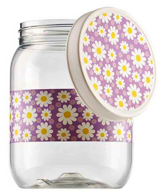 POTE PLAST. MANTIMENTO REDONDO 1,700LTS FLORAL LILAS C/ TPA - 6402
